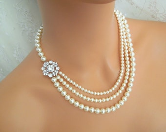 Bridal Pearl Necklace,Ivory or White Swarovski Pearls,Rhinestone Bridal Necklace, Statement Bridal Necklace, Wedding Pearl Necklace, COLLEEN