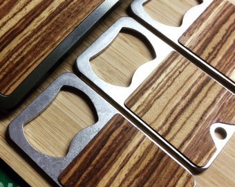LMTD ED. Zebra Wood Keychain Bottle Opener - Real Wood faced Stainless Steel Key Fob  - Beer Keyring Ring Chain