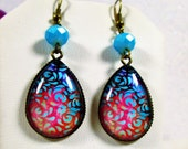 ISLAND SUNSET FLOWERS~Floral 18 x 25 mm Teardrop Glass Cabochon Dangle Earrings Aqua Matte Crystal Bronze Setting