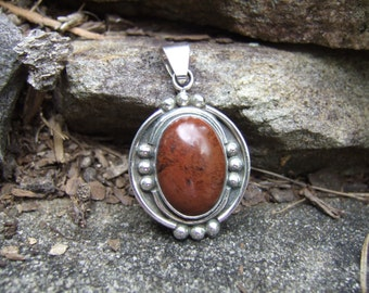 Vintage Brown Jasper Pendant - Set in Nice Sterling Bezel - Brown with Black Variation - Sterling Bail - Sterling Bezel closed on Back - 925