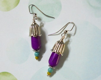 Purple Flower Bud Earrings (2593)