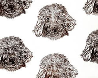 1 yard Goldendoodle Hot Diggity Dog Fabric