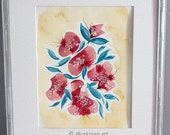 Original Watercolor painting 11x14   Floral abstract watercolor painting   Fine Art Yellow, Blue, Red, Pink, Black, Silver