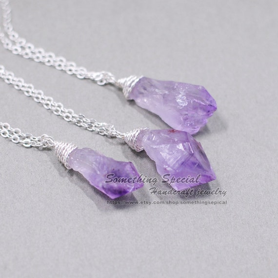 Raw Amethyst necklace Rough crystal necklace by ...