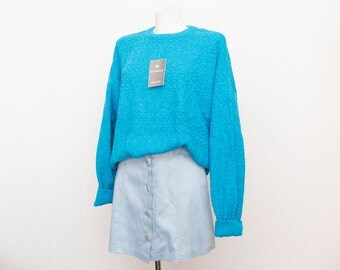 oversized sweater 90s NOS blue oversized sweater