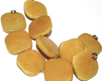 Five Yellow Tagua Nut Beads, Flat Square Beads, 19mm Beads, Natural Beads, Organic Beads, Vegetable Ivory Beads, EcoBeads