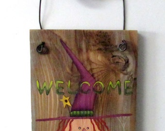 Primitive Halloween Witch, Hand Painted on Barn Wood, Tole Painted Barn Wood Witch, Halloween Welcome Sign, Rustic Barn Wood and Black Cat