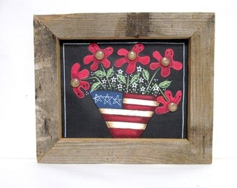Americana Flowers in Basket, Patriotic Flowers, Folk Art American Flowers, Framed in Reclaimed Barn Wood, Red, White and Blue, Hand Painted