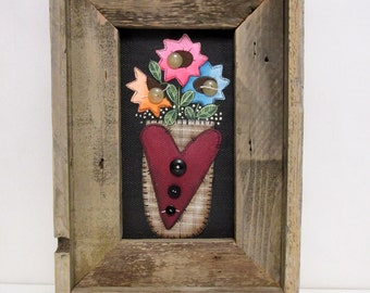 Three Colorful Folk Art Flowers, Brown Basket with Large Red Heart, Hand or Tole Painted, Fiberglass Black Screen, Reclaimed Barn Wood Frame