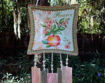 Apple Dish Upcycled into a  Windchime with Peachy-Pink Stained Glass Chimes