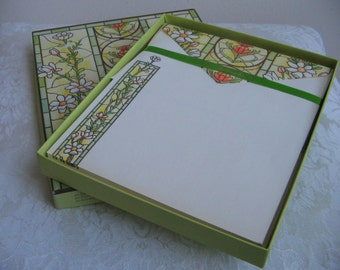 Vintage Hallmark Stationery Set in Original Box NEW With Floral Stained Glass Windows Design, 40 Sheets 20 Envelopes, Chartreuse Multi Color