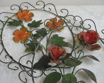 Vintage Metal Flower Wall Art Scrolls In Oval Frame, Red Orange Green Bohemian Floral Pair Set of Two, Hong Kong