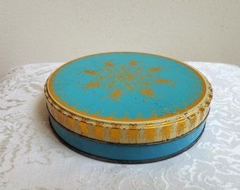 Vintage Turquoise Tin With Metallic Gold Starburst Abstract Floral Pattern, Decorative Round Metal Box