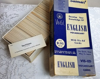 Vintage Vis-Ed English Vocabulary 1,000 Flash Cards In Box With Insert & Index, Retro 1950's Language Wordsmith Self Improvement For Success