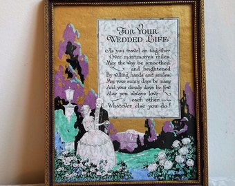 """Vintage Buzza Style Motto Graph """"For Your Wedded Life"""" Wedding Poem Wall Art Print Keepsake In Gold Wood Frame 1928 By The Cin Art Pub. Co."""