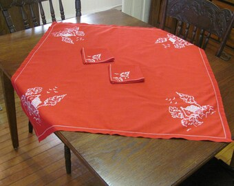 Vintage Hand Embroidered Red Cotton Luncheon Tablecloth and Two Napkins