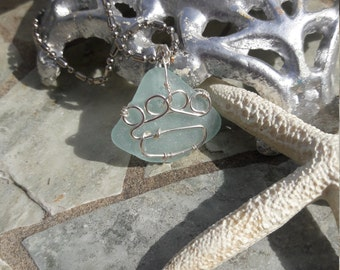 Paw Print Aqua Blue Sea Glass Silver Necklace Pendant