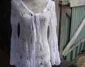 bohemian crochet cardigan, surfer top, hippy, alternative, beach, large, XL