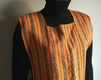 70s hand woven cover all sleeveless tunic orange brown striped IKAT indie folk hippie square neckline Eastern School Weaving tank 1970s top