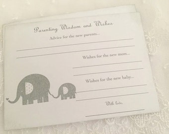 Parenting Advice Cards Baby Shower Activity Game Cards Baby Wishes Elephant