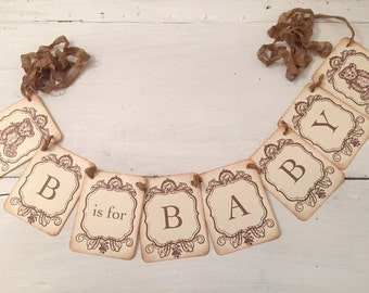 Teddy Bear Banner Baby Shower Garland Decoration Photo Prop B is for Baby