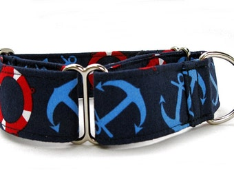 Nautical Martingale Dog Collar Extra Wide 1.5 Inch Width Red Blue White