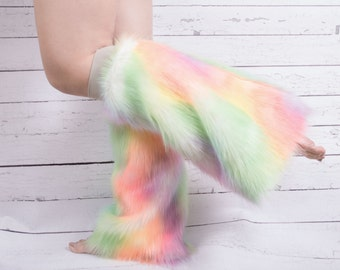 Faux fur Rainbow Boot Covers- Fluffies