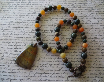 Orange Frosted Agate Leopard Jasper and Picasso Jasper Beaded Necklace with Autumn Jasper Pendant