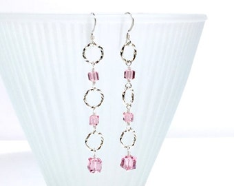 Silver Rings Wire Wrapped Crystal Beaded Earrings Pink Rose
