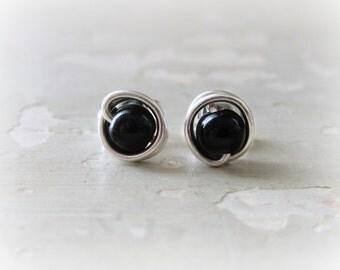 Onyx Stud Earrings, Sterling Stud Earrings,Black Post Earrings, Black Stud Earrings, Small Stud Earrings,Gemstone Earrings, Black Onyx Posts