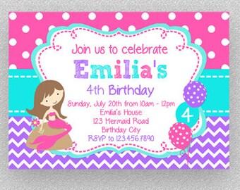 Mermaid Birthday Invitation, Girls Birthday Invitation, Hot Pink Purple Invitation , Mermaid Party Invitation