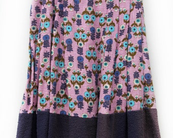 Nolena, 1950s Pastel Purple Floral Skirt, French Vintage from Paris
