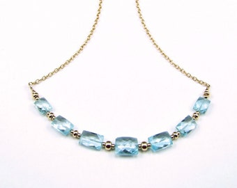Blue Topaz on 14k Gold Fill Necklace - N852