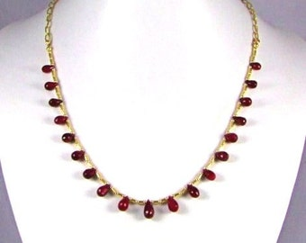 Ruby Faceted Briolette 14k GF Necklace - N294