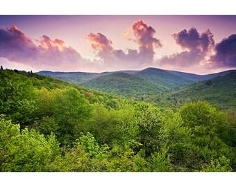 Sunset Nature Photography, Blue Ridge Parkway, Fine Art Photo Print, Light Rays, Graveyard Fields, Green, Mountains, Summer, Spring