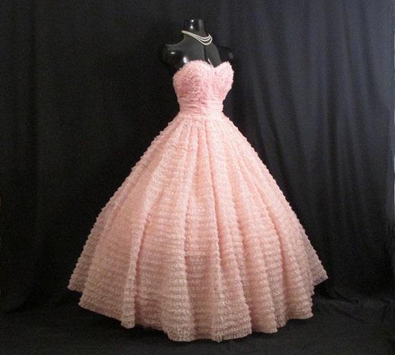 Vintage 1950s 50s Bombshell Strapless Pink Chiffon Organza