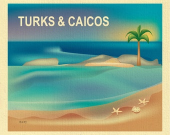 Turks and Caicos poster art, Turks Caicos map, Turks & Caicos travel art print, retro Caribbean poster,  wedding beach art  - style E8-O-TUR