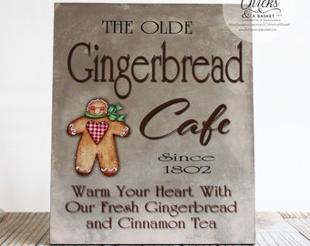 The Olde Gingerbread Cafe Sign, Christmas Sign, Gingerbread Sign, Christmas Decoration