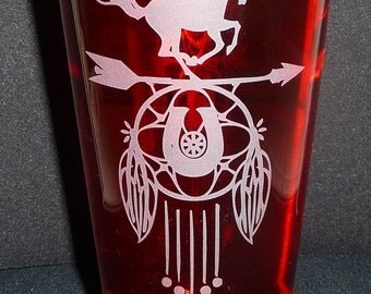 DREAM CATCHER, Hand Etched on 16 oz Pint Glass