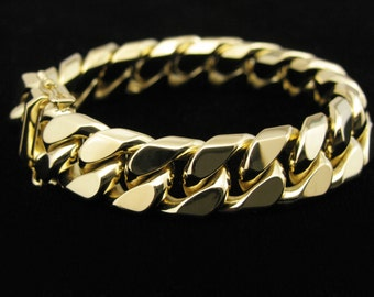 heavy 18k gold curb link bracelet -- solid gold -- artisan handmade