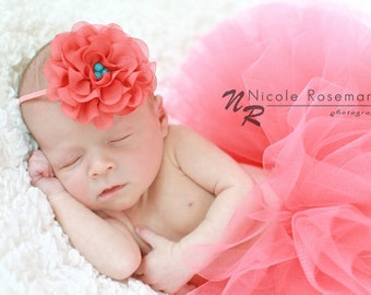 Coral Tulle Skirt, 1st Birthday Outfit, Newborn Photo Prop, Tutus for Baby Girls, Coral Tutu, Headband, Baby Tutu, Newborn Tutu, Infant Tutu