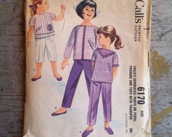 Vintage McCall's Sewing Pattern 6170 Child's Size 1 Pedal Pushers Tops
