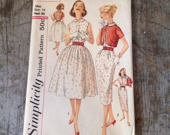 Vintage Simplicity Sewing Pattern 2550 Misses' Size 14 Bust 34 Dress Jacket