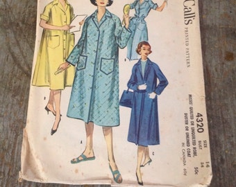 Vintage McCall's Sewing Pattern 4320 Misses' Size 14 Bust 34 Robe Duster Coat