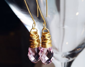 Gorgeous Pink Swarovski Crystals Wrapped in Gold