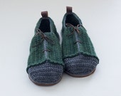 House Shoes Sneakers with Leather Sole in dark green and grey (no tongue)  - all adult shoe sizes US 4-12 EUR 35-46