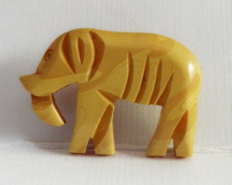 Carved Bakelite Elephant Button Realistic