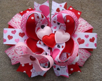 Valentine Hair Bow - Boutique Stacked Hair Bow Hair Clip large hair bow fancy hair bow pink white red hair bow heart hair bow