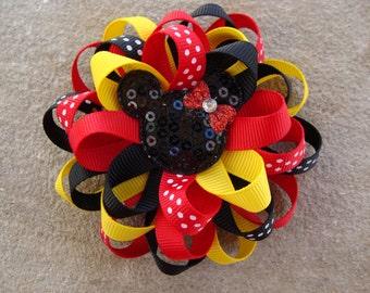 2 Minnie Mouse Hair Bow Mickey Mouse Hair Bow Minnie Mouse Hair Bow Loopy Flower Hair Bow black red yellow hair bow
