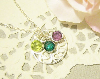 Personalized Family Tree Necklace with Birthstones, Tree of Life Necklace, Mother Necklace, Grandmother Necklace, New Mom, Sterling Silver